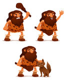 Αστεία απεικόνιση κινούμενων σχεδίων ενός caveman Στοκ φωτογραφία με δικαίωμα ελεύθερης χρήσης