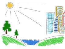 Αστεία απεικόνιση της έγχρωμης πόλης Απεικόνιση αποθεμάτων