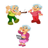 Αστεία απεικόνιση της ηλικιωμένης γυναίκας και του παλαιού χαρακτήρα κινουμένων σχεδίων ατόμων Στοκ εικόνα με δικαίωμα ελεύθερης χρήσης