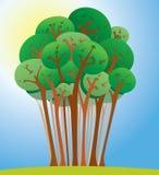 Αστεία απεικόνιση φύσης δέντρων κινούμενων σχεδίων Στοκ Εικόνα
