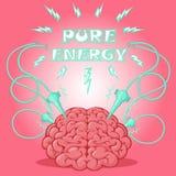 Αστεία αφίσα: εγκέφαλος τα ηλεκτρόδια που ενεργοποιούνται με και το κείμενο για να σχεδιάσει ένα έμβλημα ή να καλύψει τη συσκευή  Στοκ Εικόνες