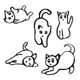 Αστεία γατάκια κινούμενων σχεδίων (θέστε) Στοκ φωτογραφίες με δικαίωμα ελεύθερης χρήσης