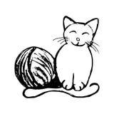 Αστεία γατάκι και κουβάρι του νήματος (αφαίρεση) Στοκ Φωτογραφία