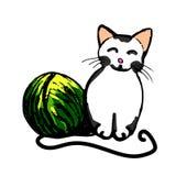 Αστεία γατάκι και κουβάρι του νήματος (χρώμα) Στοκ Φωτογραφία