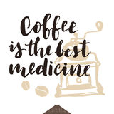Αστεία γράφοντας αφίσα καφέ Στοκ Εικόνες