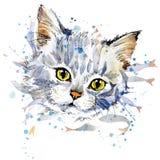 Αστεία γραφική παράσταση μπλουζών γατακιών και ψαριών διανυσματική απεικόνιση