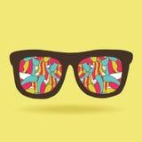 Αστεία γυαλιά doodle hipster με το σχέδιο Στοκ Εικόνες