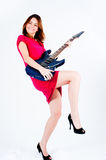 αστεία γυναίκα κιθάρων Στοκ Εικόνα