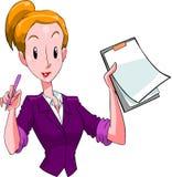 Αστεία γυναίκα που σκέφτεται για κάτι το γραμματέα λύσης στοκ εικόνα