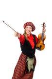 Αστεία γυναίκα στο σκωτσέζικο ιματισμό με το βιολί Στοκ Εικόνες