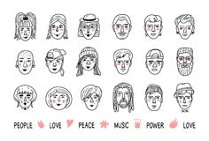 Αστεία είδωλα ανθρώπων, πρόσωπα των ανδρών και των γυναικών Πορτρέτα Doodle των ανθρώπων, των Hand-drawn καθιερωνόντων τη μόδα κο ελεύθερη απεικόνιση δικαιώματος