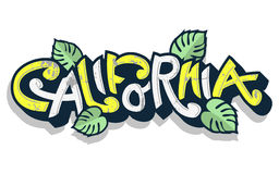 Αστεία εγγραφή Καλιφόρνιας με τα φύλλα φοινικών σε ένα άσπρο υπόβαθρο Στοκ Εικόνες