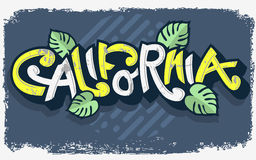 Αστεία εγγραφή Καλιφόρνιας με τα φύλλα φοινικών Στοκ εικόνα με δικαίωμα ελεύθερης χρήσης