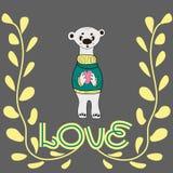 Αστεία εκμετάλλευση Teddy χαρακτήρα στα πόδια μιας μεγάλης καρδιάς Η έννοια της ημέρας του βαλεντίνου ελεύθερη απεικόνιση δικαιώματος