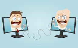 Αστεία επικοινωνία επιχειρηματιών διανυσματική απεικόνιση