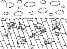 Αστεία επιχείρηση γατών στη στέγη Στοκ εικόνες με δικαίωμα ελεύθερης χρήσης