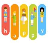 Αστεία επιχείρηση των παιδιών που γιορτάζουν τα γενέθλια Απεικόνιση αποθεμάτων
