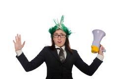 Αστεία επιχειρηματίας στην επιχειρησιακή έννοια στο λευκό Στοκ Φωτογραφίες