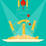 Αστεία ζυμαρικά σε ένα πιάτο Στοκ Εικόνα