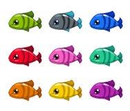 Αστεία ζωηρόχρωμα ψάρια κινούμενων σχεδίων καθορισμένα Στοκ φωτογραφία με δικαίωμα ελεύθερης χρήσης