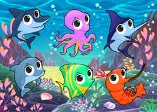 Αστεία θαλάσσια ζώα στη θάλασσα Στοκ Εικόνες