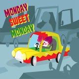 Αστεία διανυσματική απεικόνιση Ευχετήρια κάρτα: γλυκιά Δευτέρα Δευτέρας στοκ εικόνα