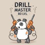 Αστεία διανυσματική αυτοκόλλητη ετικέττα: Κινούμενα σχέδια Panda - ο κύριος τρυπανιών απεικόνιση αποθεμάτων