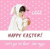 Αστεία διανυσματική κάρτα διακοπών Πάσχας Κυνήγι αυγών λαγουδάκι Στοκ Φωτογραφίες