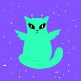 Αστεία διαστημική αλλοδαπή γάτα με τα φτερά, μεγάλα μάτια, κεραία, που απομονώνεται Ελεύθερη απεικόνιση δικαιώματος