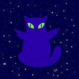 Αστεία διαστημική αλλοδαπή γάτα με τα φτερά, μεγάλα μάτια, κεραία, πράσινος, που απομονώνεται Διανυσματική απεικόνιση