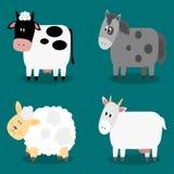 Αστεία δισχιδής συλλογή ζώων αγροκτημάτων οπλών Στοκ Φωτογραφία