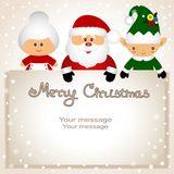 Αστεία κάρτα με τη νεράιδα Χριστουγέννων, κα Klaus και Santa Στοκ Εικόνες