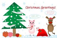 Αστεία κάρτα Χριστουγέννων με το χοίρο και τον τάρανδο απεικόνιση αποθεμάτων