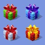 Αστεία κιβώτια δώρων κινούμενων σχεδίων ζωηρόχρωμα isometric καθορισμένα απεικόνιση αποθεμάτων