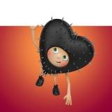 Αστεία κινούμενα σχέδια καρδιών βαλεντίνων μαύρα με το έμβλημα Στοκ φωτογραφία με δικαίωμα ελεύθερης χρήσης