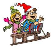 Αστεία κινούμενα σχέδια, παιδιά, έλκηθρο, απεικόνιση, θέμα Chritmas, χιόνι Στοκ εικόνα με δικαίωμα ελεύθερης χρήσης