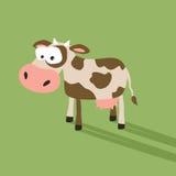 Αστεία κινούμενα σχέδια αγελάδων με το ανόητο πρόσωπο Στοκ εικόνες με δικαίωμα ελεύθερης χρήσης