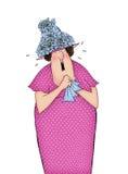 Αστεία κινούμενα σχέδια κυρία Crying και εκμετάλλευση ένα χαρτομάνδηλο διανυσματική απεικόνιση