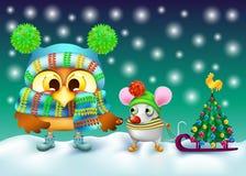 Αστεία κουκουβάγια και ποντίκι στο χειμερινό καπέλο με το χριστουγεννιάτικο δέντρο διανυσματική απεικόνιση