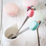 Αστεία κουτάλια με τα macarons και ladybugs Στοκ φωτογραφίες με δικαίωμα ελεύθερης χρήσης
