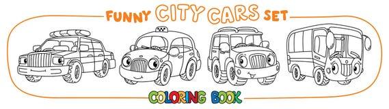 Αστεία μικρά αυτοκίνητα πόλεων με τα μάτια Σύνολο βιβλίων χρωματισμού Στοκ φωτογραφία με δικαίωμα ελεύθερης χρήσης