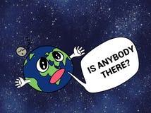 Αστεία μόνη απεικόνιση γήινων κινούμενων σχεδίων Στοκ Φωτογραφία