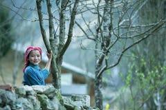 Αστεία παιδιά εθνικής μειονότητας στο φράκτη πετρών στο χωριό εκκέντρων πνευμόνων Στοκ Εικόνες