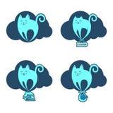 Αστεία πετώντας γάτα στο σύννεφο Στοκ Εικόνα