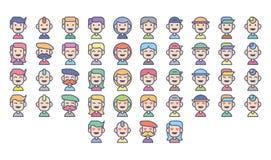 Αστεία ποικιλομορφία χαρακτήρα ανθρώπων ειδώλων με πολύ είδος έκφρασης Στοκ Εικόνες