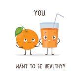 Αστεία πορτοκάλι χαρακτήρων και ποτήρι του χυμού από πορτοκάλι Στοκ Εικόνα
