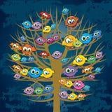 Αστεία πουλιά και δέντρο Διανυσματική απεικόνιση