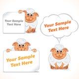 Αστεία πρόβατα κινούμενων σχεδίων με τα εμβλήματα Στοκ εικόνες με δικαίωμα ελεύθερης χρήσης