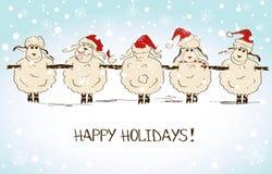 Αστεία πρόβατα σκιαγράφησης - σύμβολο του νέου έτους 2015 Στοκ Εικόνα