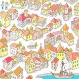 Αστεία πόλη Doodle: Άνευ ραφής διανυσματικό σχέδιο στοκ φωτογραφίες με δικαίωμα ελεύθερης χρήσης